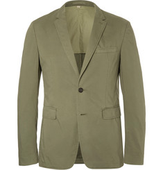 Burberry Green Slim-Fit Garment-Dyed Stretch-Cotton Twill Blazer