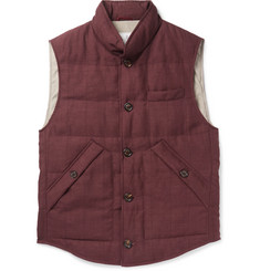 Brunello Cucinelli Slub Wool, Linen and Silk-Blend Down Gilet