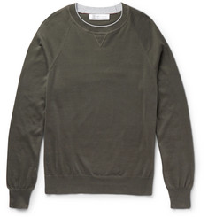 Brunello Cucinelli Contrast-Tipped Cotton Sweater