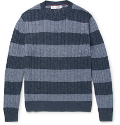 Brunello Cucinelli Striped Cable-Knit Linen and Cotton-Blend Sweater