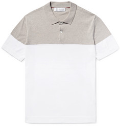 Brunello Cucinelli Slim-Fit Two-Tone Knitted Cotton Polo Shirt
