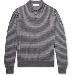 Brunello Cucinelli - Striped Wool and Cashmere-Blend Polo Shirt