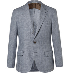 Brunello Cucinelli Blue Prince of Wales Checked Slub Linen Suit Jacket