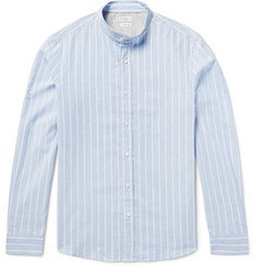 Brunello Cucinelli Grandad-Collar Striped End-on-End Cotton and Linen-Blend Shirt