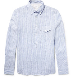 Brunello Cucinelli Slim-Fit Button-Down Collar Striped Linen Shirt