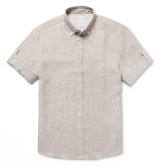Brunello Cucinelli Button-Down Collar Slub Linen Shirt