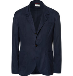 Brunello Cucinelli Blue Virgin Wool and Silk-Blend Blazer