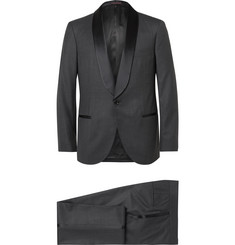Brunello Cucinelli Grey Slim-Fit Satin-Trimmed Wool and Silk-Blend Tuxedo