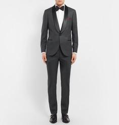 Brunello CucinelliGrey Slim-Fit Satin-Trimmed Wool and Silk-Blend Tuxedo