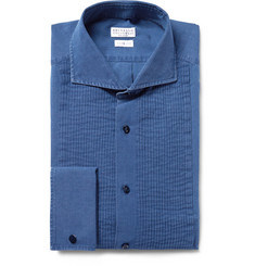 Brunello Cucinelli Blue Slim-Fit Bib-Front Chambray Tuxedo Shirt