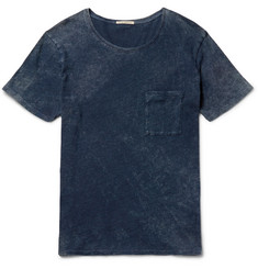 Nudie Jeans Ove Marbled Indigo-Dyed Organic Cotton-Jersey T-Shirt
