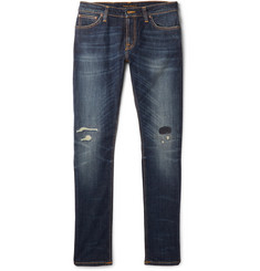 Nudie Jeans Skinny Lin Distressed Organic Stretch-Denim Jeans
