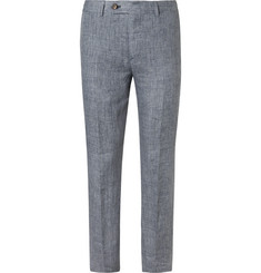 Brunello Cucinelli Blue Slim-Fit Prince of Wales Checked Slub Linen Trousers