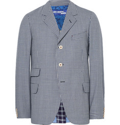 Junya Watanabe Blue Slim-Fit Checked Wool Blazer