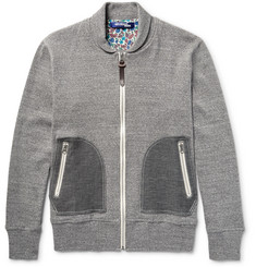 Junya Watanabe Shawl-Collar Mélange Cotton-Jersey Zip-Up Sweatshirt