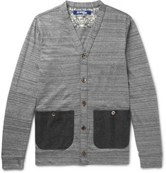 Junya Watanabe Slim-Fit Felt-Trimmed Mélange Cotton Cardigan