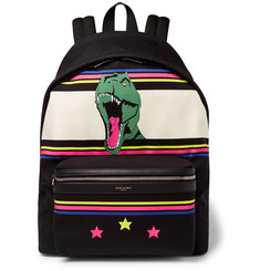 Saint Laurent City Leather-Trimmed Dinosaur-Patterned Canvas Backpack