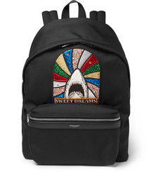 Saint Laurent City Appliquéd Canvas Backpack