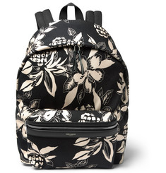 Saint Laurent Floral-Print Canvas Backpack
