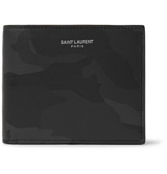 Saint Laurent Camouflage-Print Leather Billfold Wallet
