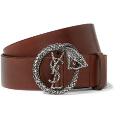 Saint Laurent 4cm Brown Burnished-Leather Belt