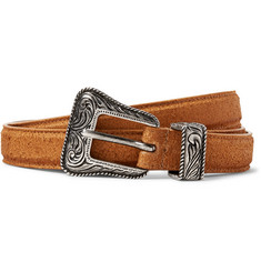 Saint Laurent 2cm Brown Distressed Suede Belt