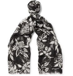 Saint Laurent - Hibiscus-Print Cashmere and Silk-Blend Scarf