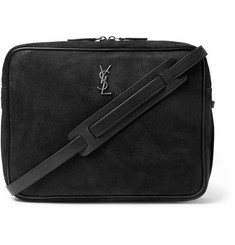 Saint Laurent Leather-Trimmed Nubuck Messenger Bag