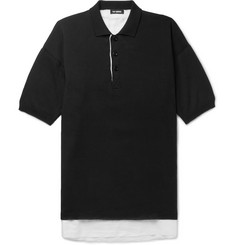 Raf Simons Oversized Linen-Lined Knitted Cotton Polo Shirt