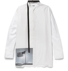 Raf Simons + Robert Mapplethorpe Foundation Strap-Detailed Grandad-Collar Printed Cotton Shirt