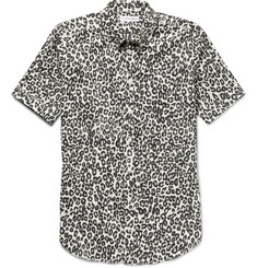 Alexander McQueen Brad Slim-Fit Button-Down Collar Leopard-Print Cotton Shirt