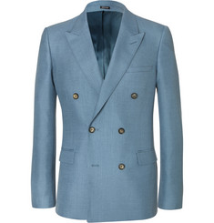 Alexander McQueen - Blue Slim-Fit Double-Breasted Mohair and Silk-Blend Suit Jacket