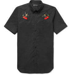 Alexander McQueen Slim-Fit Button-Down Collar Embroidered Cotton-Poplin Shirt