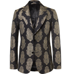 Alexander McQueen Black Slim-Fit Brocade Blazer