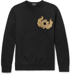Alexander McQueen Slim-Fit Beaded Loopback Cotton-Jersey Sweatshirt