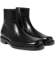 Balenciaga Leather Zip-Up Boots