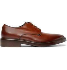 Balenciaga Burnished-Leather Derby Shoes