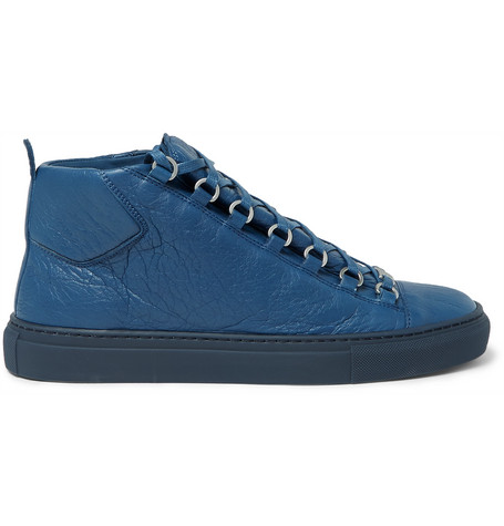 Balenciaga Arena Creased-leather High-top Sneakers In Navy