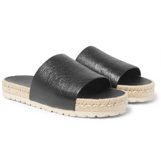 Balenciaga - Rope-Trimmed Creased-Leather Slides