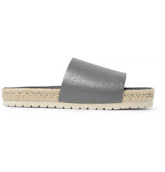 Balenciaga Rope-Trimmed Creased-Leather Slides