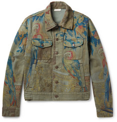 Dries Van Noten Parrot Tapestry-Print Denim Jacket