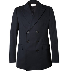 Dries Van Noten Blue Slim-Fit Double-Breasted Cotton-Twill Blazer