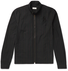 Dries Van Noten Embroidered Pinstriped Cotton Jacket