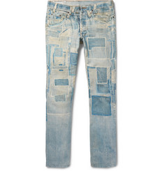 Dries Van Noten Slim-Fit Patchwork-Print Denim Jeans
