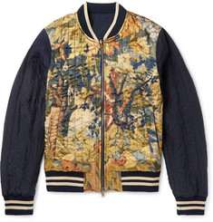 Dries Van Noten Reversible Shell and Printed Satin Bomber Jacket