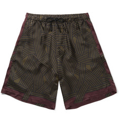 Dries Van Noten Printed Satin Drawstring Shorts
