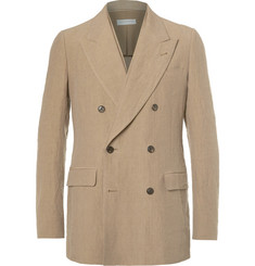 Dries Van Noten Camel Strap-Detailed Double-Breasted Woven Linen Blazer