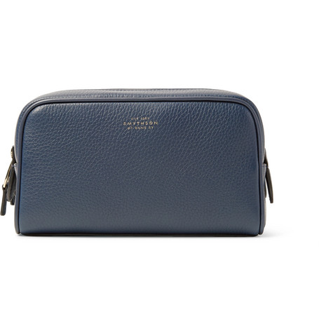 7c74c2001c Smythson Burlington Full-Grain Leather Wash Bag In Navy