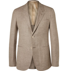 Caruso Brown Butterfly Slim-Fit Unstructured Wool, Silk and Linen-Blend Blazer