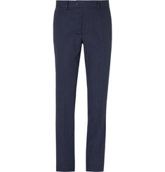Caruso - Slim-Fit Herringbone Cotton and Linen-Blend Trousers